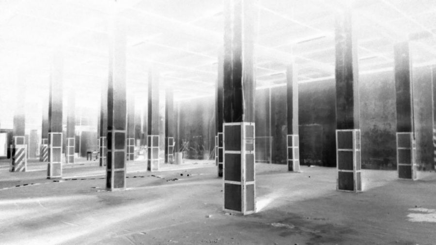 No People Black And White Blackandwhite Black & White Lost Place Lostplaces Lostplace Lost Places Old Factory Built Structure Indoors  Factory Industry Columns Architecture Architectural Column Negative Negative Photography