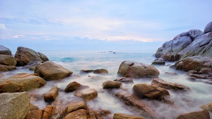 Parai Tengiri granitic boulder beach. Low Speed Shutter Low Speed Low Shutter Speed Seascape Bangka Landscape Rocky Beach Sunrise Granitic Beach Travel Photography Photography By @jgawibowo Arif Wibowo Photoworks Shot By @jgawibowo Shot By Arif Wibowo Like Pantai Trip To Bangka Indonesia Scenic Boulder Colorado Sea Beach No People Cloud - Sky Nature Water Scenics