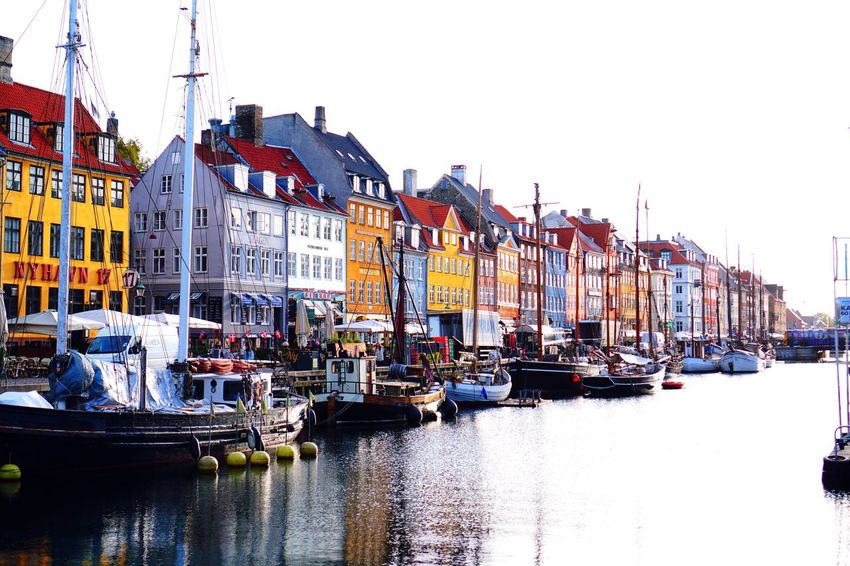 Architecture Building Exterior Nautical Vessel Reflection Moored Water Harbor Built Structure Travel Destinations Mode Of Transport City No People Outdoors Transportation Tranquility Day Clear Sky Sky Colorful Real Photography Colour Of Life The Week On EyeEm Copenhagen Travel Photography Travel