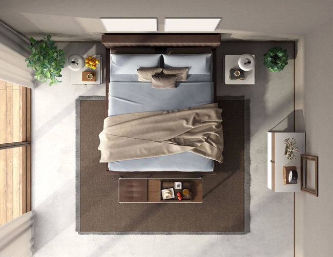 Top view of a modern bedroom