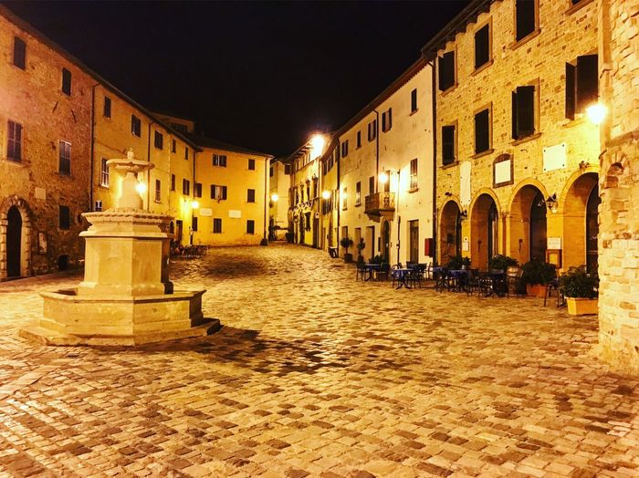 Architecture Building Exterior Built Structure Illuminated Night Outdoors Sky No People Square San Leo Montefeltro