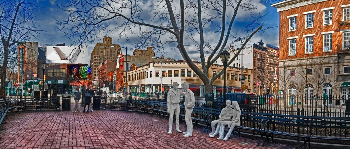 Landmark of the 1969 Gay riots - 3/2/16 B&W Statues Representing Gay Couples City Life Cold Temperature Composite Image, HDR & Shadows & Highlights Creative Selections W/ Adjustments Near Stonewall Inn Sight Of 1969 Gay Riots Opportunistic Concept Photography Panorama 2 Shots Stitched Together Winter Urban Spring Fever