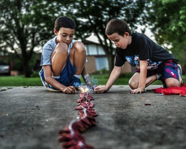 Full length of children playing