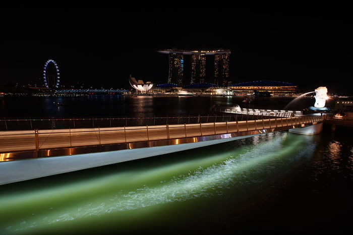 HUAWEI Photo Award: After Dark Singapore View Water Reflections Architecture Bridge Bridge - Man Made Structure Building Exterior Built Structure City Illuminated Illumination Lines And Shapes Merlion Night Reflection Skyscraper Travel Destinations Water Waterfront