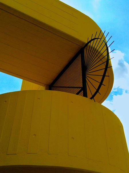 Architecture Background For Quotes Blue Sky And Clouds Building Exterior Built Structure Day Low Angle View No People Outdoors Presentation Background Sky Sunlight Yellow Hayward Gallery London