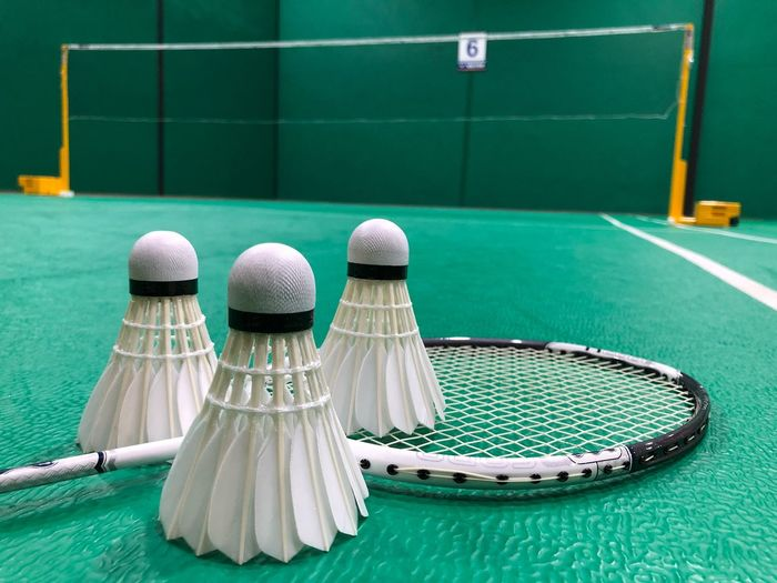 Close-up of shuttlecock and racket