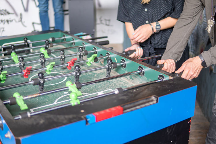 Young people playing table football