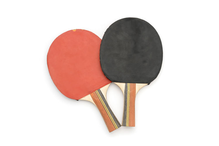 Table Tennis Rackets Two White Background Cut Out Studio Shot No People Indoors  Copy Space Red Black Color Sport Close-up Still Life Directly Above High Angle View Design Heart Shape Shape Paper Two Objects Tool Equipment