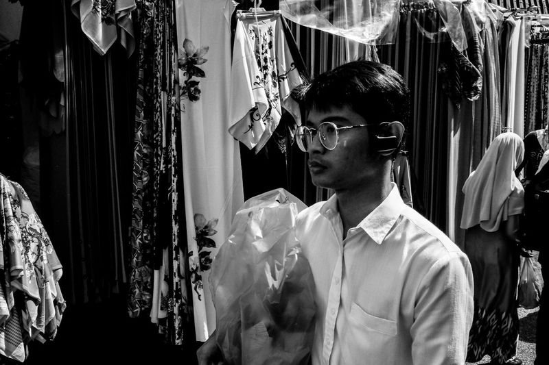 Street scene at Jalan Masjid India, Malaysia. Adult Blackandwhite Close Up Close-up Day EyeEm Gallery Eyeglasses  Face Glasses Horizontal Indoors  Kuala Lumpur Masjid India Monochrome Photography Nerd One Man Only Only Men People Person Streetphoto_bw Streetphotography Sunglasses Window Young Adult