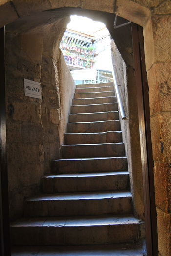 Series of the Christian Quarter. One of the four quarters of the walled Old City of Jerusalem, Architecture Brick Wall Building Built Structure Christian Quarter Day Jerusalem Low Angle View No People Old City Staircase Stairs Steps Steps And Staircases The Way Forward