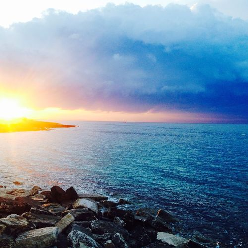 Sunset Beauty In Nature Nature Landscape Horizon Over Water Puglia - South Italy Salento Sky Sea Beach Scenics Outdoors No People Tranquility Water Sunlight Awe Beauty Multi Colored City Day Cityscape First Eyeem Photo