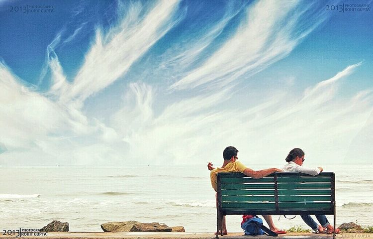 Moment of Peace Beach Beauty Bonding Casual Clothing Contemplation Contest Horizon Over Water Landscape Life Love Mypointofview Outdoors People Photo Photography Pic Rear View Relaxation Sea Sitting Sky Togetherness Traveling Two People Vacations Stories From The City