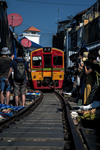 Mae Klong - Railway Market Transportation Mode Of Transportation Rail Transportation Railroad Track Real People Track Train Group Of People Building Exterior People City Railroad Station Land Vehicle Market Daylight Thailand