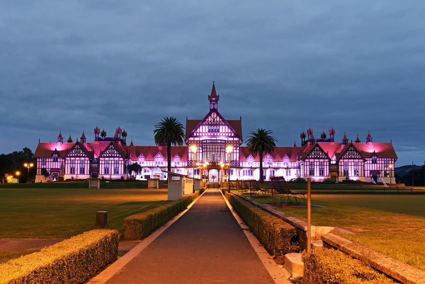 Kia Ora, this is a night photo of the beautiful Rotorua museum in New Zealand. EyeEmNewHere Rotorua New Zealand Architecture Built Structure Illuminated Museum Night No People