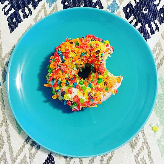 Plate Cereal FRUITY PEBBLES  Bite Donut Freshness Ready-to-eat Still Life Blue Tablecloth Pattern Directly Above Multi Colored