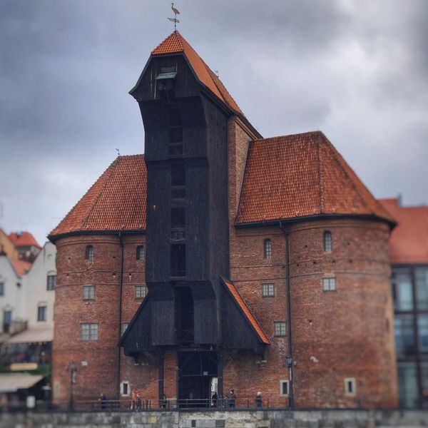 Built Structure Building Exterior Architecture Sky Spirituality Cloud - Sky Place Of Worship No People Religion Outdoors Day Gdansk Poland Crane Maritime Museum Shipping  Ship Waterline Freight Transportation Trade