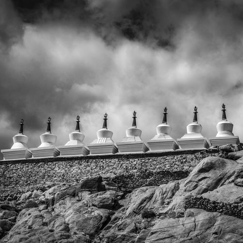 Stupas, Ladakh, India No People Sky Day Nature Cloud - Sky Game Rock Outdoors Low Angle View Chess Still Life Solid Rock - Object Lighting Equipment Large Group Of Objects Arrangement India Indian Culture  Stupa Ladakh Black And White