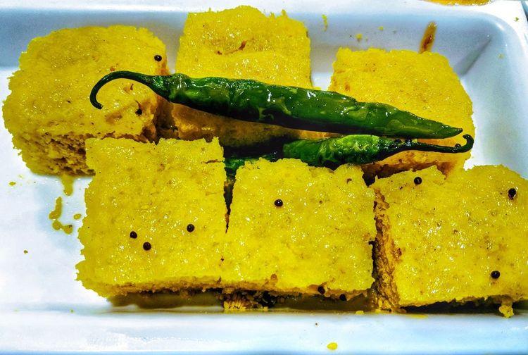 Gujrati Dhokla Google Pixel 2 Dhokla Gujarati Food Mirchi Chilly Food Indianfood Foodphotography Food Porn Gujarat Gujratistyled Indiancuisine Yellow Close-up Prepared Food Served EyeEmNewHere