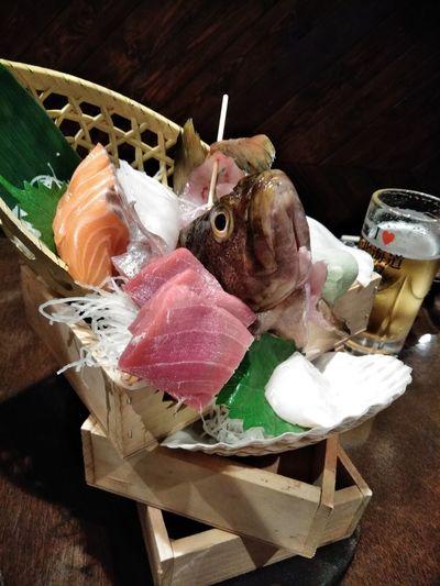 High angle view of fish on table