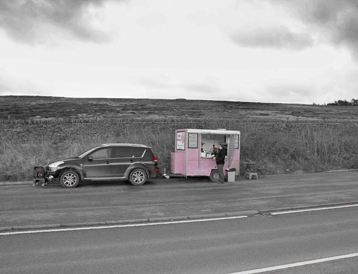 What you see in grey, I see in colour.Mode Of Transport Transportation Land Vehicle Sky Cloud - Sky Driving Day Trailer Food Van One Man Only One Man Millennial Pink