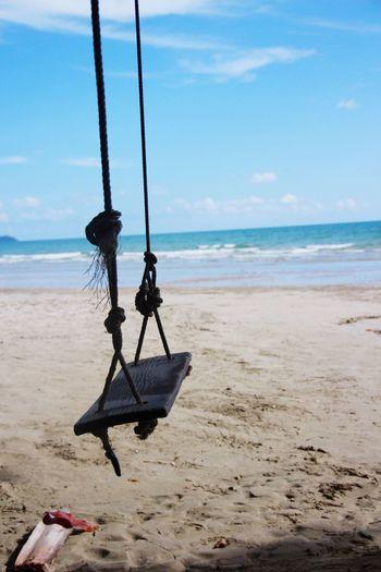 Swing Thai Koh Chang Travel Thailand Sea Land Beach Water Sky Horizon Horizon Over Water Day Swing Idyllic No People Scenics - Nature Nature Sand