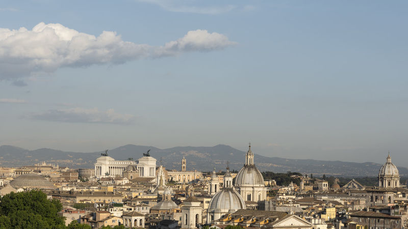 Cityscape of rome with monuments and domes Aerial View Architecture Capital Cities  Cityscape Dome Europe Exterior Famous Place High Angle View Landmark Monument Obelisk Outdoors Over Panorama Panoramic Pantheon Roman Rome Sky And Clouds Skyline Sunset Travel Destinations Urban Vittoriano