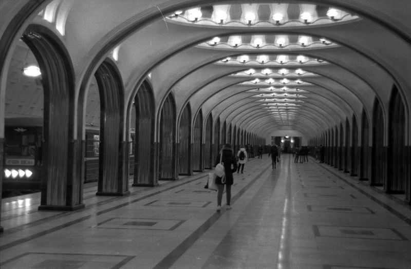Analogue Photography Film Lights Moscow Black And White Film Photography Moscow Metro Pattern