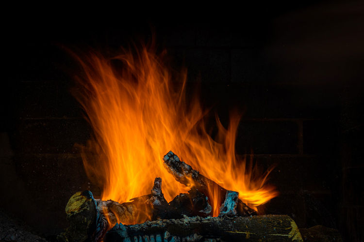 Bonfire on fire at night