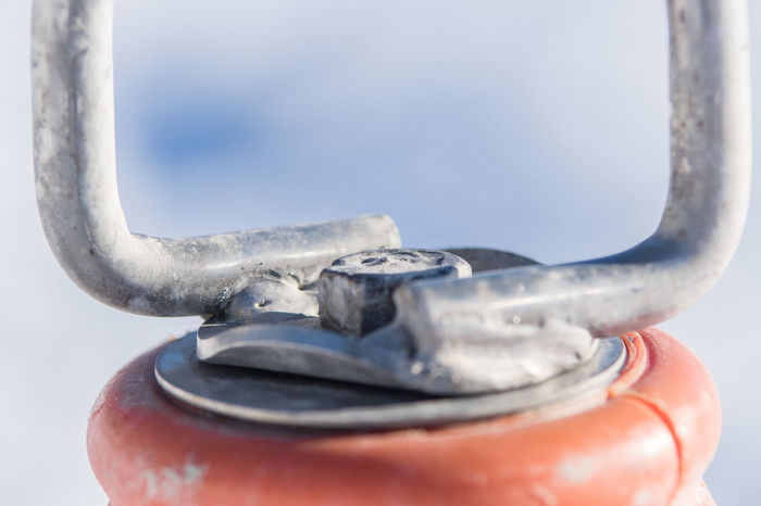 Buoy Close-up Cold Temperature Day Focus On Foreground Frozen Hook Ice Metal Metal Hook Nature No People Outdoors Red Buoy Sky Snow Winter