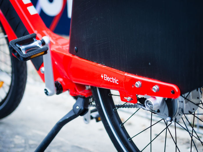 Close-up of red bicycle
