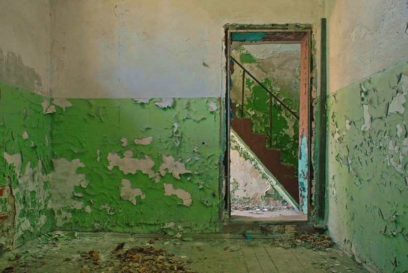 Lostplaces Lost Places Colours Stairs Door Room Green Old Colors Architecture No People Indoors  Abandoned Places Abandoned