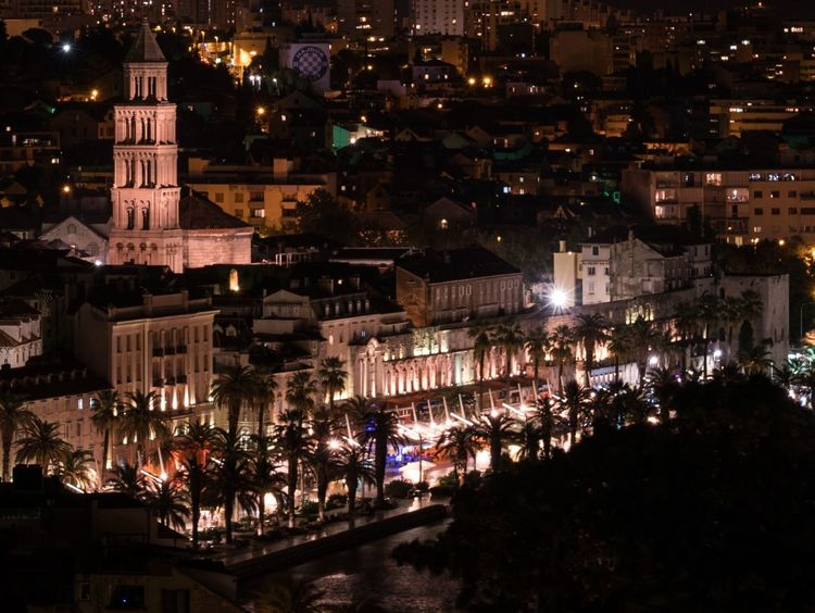 Riviera. Night Architecture Illuminated Building Exterior Built Structure City High Angle View Outdoors Nightlife Cityscape Travel Destinations Split Split Croatia Hrvatska Croatia Croatia ♡ Nightphotography Night Lights Riviera Tower Church History Historical Building Palm Tree Traveling