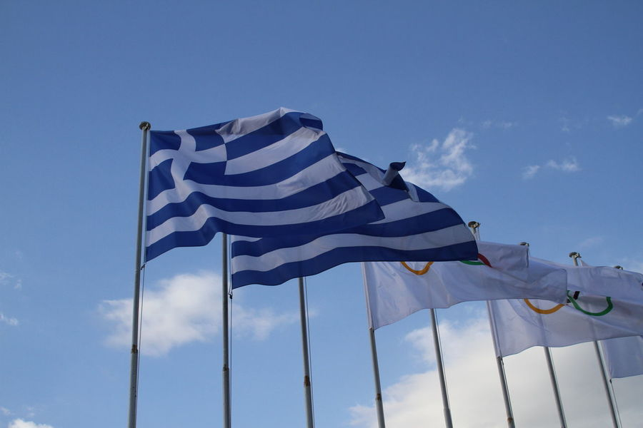 Blue Clear Sky Day Flag Greece Greek Flag Low Angle View Olympics Outdoors Patriotism Repetition Sky Striped