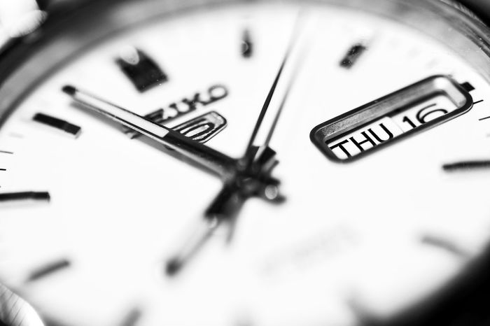 Black Black & White Black And White Blackandwhite Clock Clockwise Close Up Close-up Contrast Defocused Extreme Close Up Extreme Close-up Focus On Foreground High Angle View Indoors  Macro Monochrome Monochrome Photography No People Number Selective Focus Single Object TakeoverContrast Time Watch