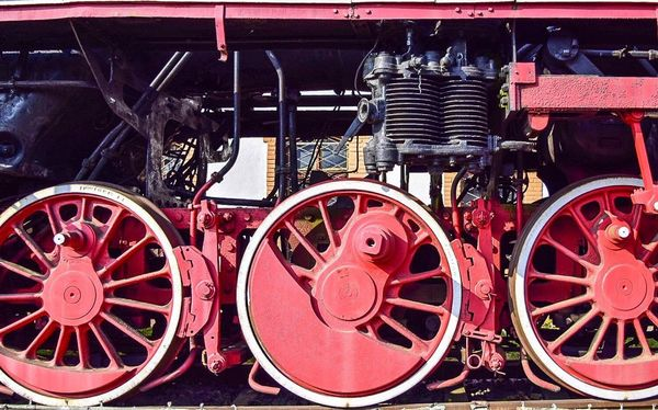 Red Wheel No People Day Close-up Outdoors Locomotive Steam Train