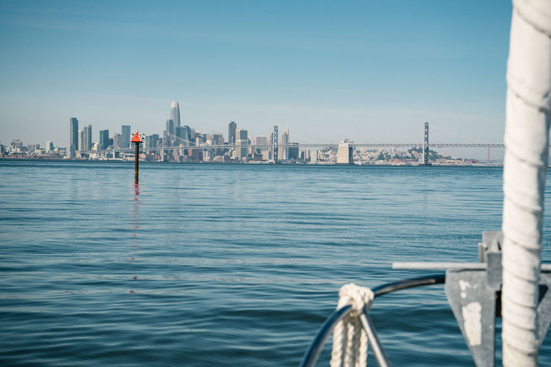 Heading to San Francisco Water Architecture Built Structure Nautical Vessel Sky Building Exterior City Transportation Waterfront Nature Travel Travel Destinations Day River Building Mode Of Transportation Tourism Skyscraper No People Office Building Exterior Tall - High Outdoors Cityscape Bridge - Man Made Structure Bay