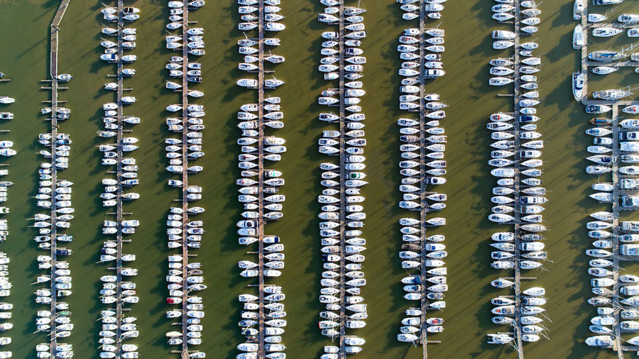 Aerial View Of Boats In Sea At Harbor