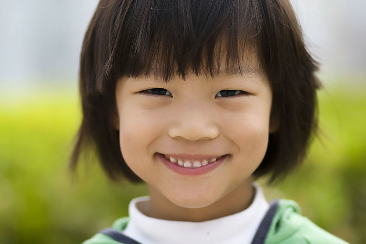 Portrait Child Smiling Childhood Happiness Cheerful Girls Looking At Camera Headshot Human Face