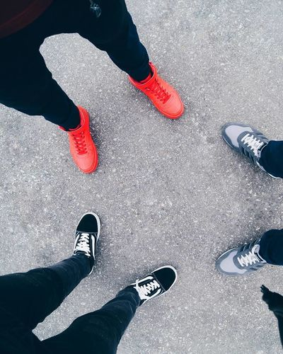 Low Section Shoe Human Leg Human Body Part Human Foot One Person Only Men People High Angle View One Man Only Red Adults Only Standing Lifestyles Adult Real People Men Day Outdoors Close-up