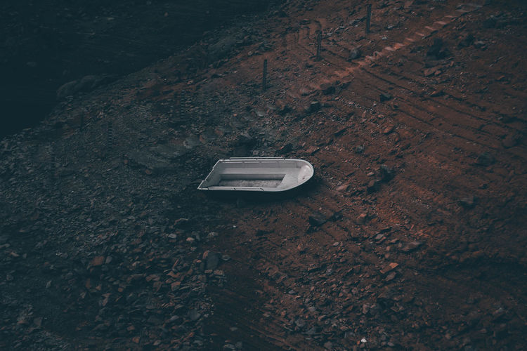 Aerial view of boat on land
