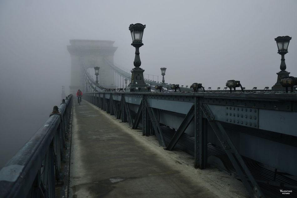 #budapest #ChainBridge #foggy #foggymorning #mistery #reportage Bridge - Man Made Structure Day Fog No People Outdoors Railing Sky Travel Destinations