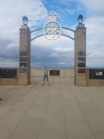Royal navy memorial and my little girl posing