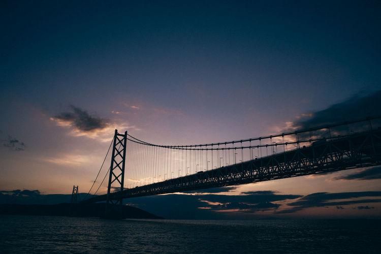 Suspension bridge over sea during sunset