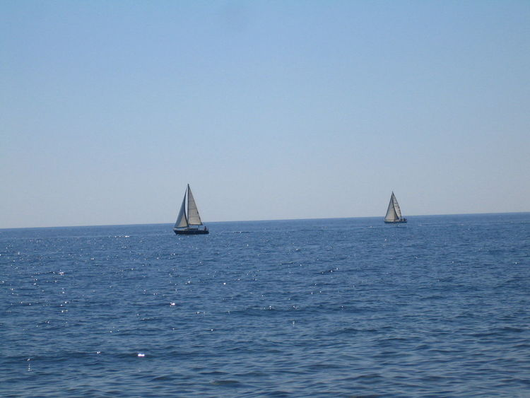 Blue Boat Calm Clear Sky Day Horizon Over Water Nature Nautical Vessel Sea Seascape Water