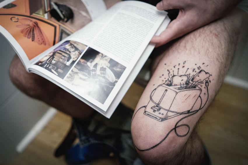 Toaster Breakfast Handpoked Person Tattoo Tattoo Life Toaster Toilet