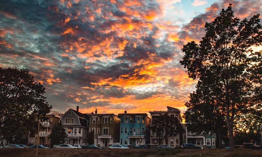 Architecture Built Structure Building Exterior Tree Sunset Orange Color House Cloud - Sky Cloudy Sky Outdoors Cloud Nature No People Dramatic Sky Scenics Majestic Atmospheric Mood Beauty In Nature