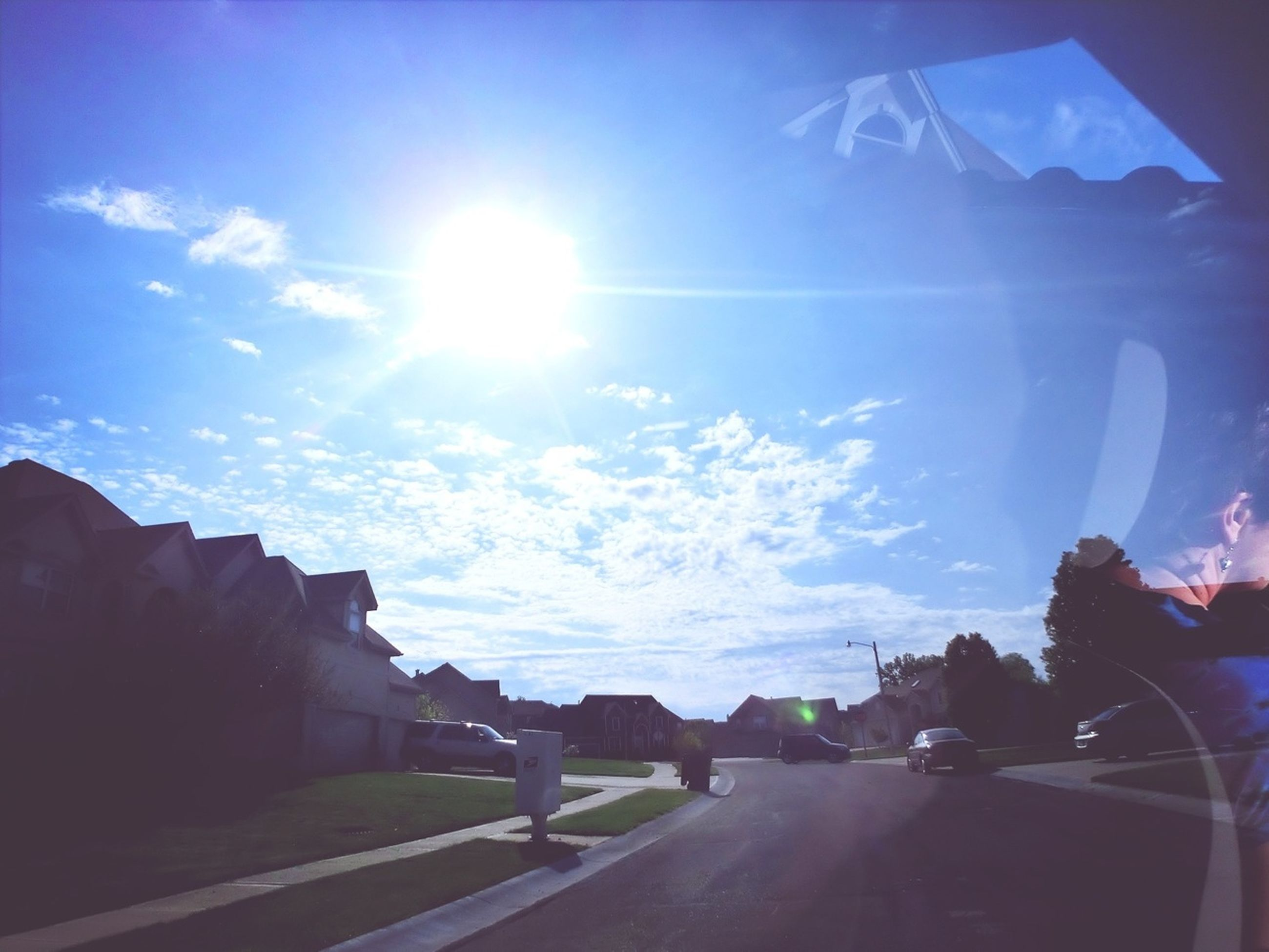 sunbeam, sun, lens flare, transportation, sunlight, sky, road, blue, the way forward, car, sunny, cloud - sky, land vehicle, mode of transport, nature, cloud, day, landscape, beauty in nature, bright