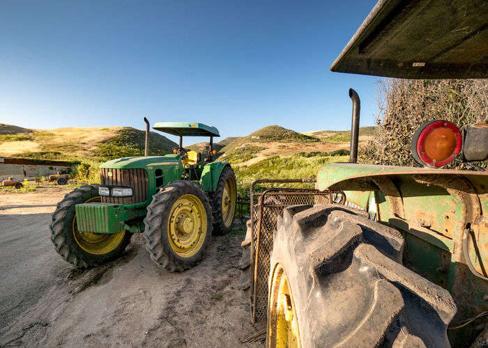 Git 'Er Done Farm Field Tractor Blue Sky Directly Above Dirt Equipment No Clouds
