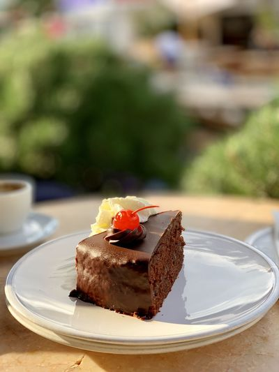 Close-up of cake in plate on table