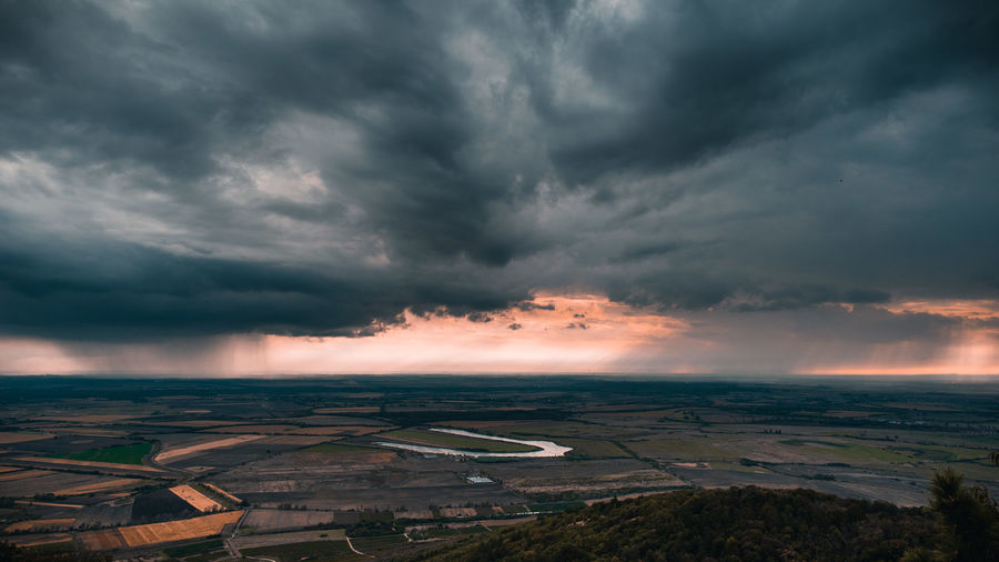Aerial view of storm clouds over landscape